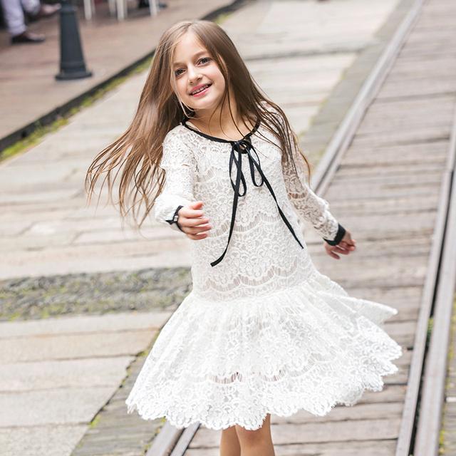 Vestidos De meninas Rendas Primavera Verão Vestidos de Roupa dos Miúdos das Crianças de Manga Comprida Princesa Estilo Festa de Casamento Férias
