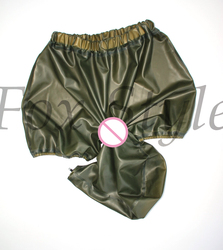 Exotic rubber latex hoods connect shorts panties by mouth sexy trasparent green