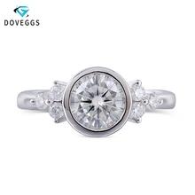 купить DovEggs 14K White Gold Moissanite Engagement Ring For Women Center 1ct 6.5MM F Color Moissanite Ring Bezel Setting Fine Jewelry дешево