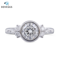 DovEggs 14K White Gold Moissanite Engagement Ring For Women Center 1ct 6.5MM F Color Moissanite Ring Bezel Setting Fine Jewelry