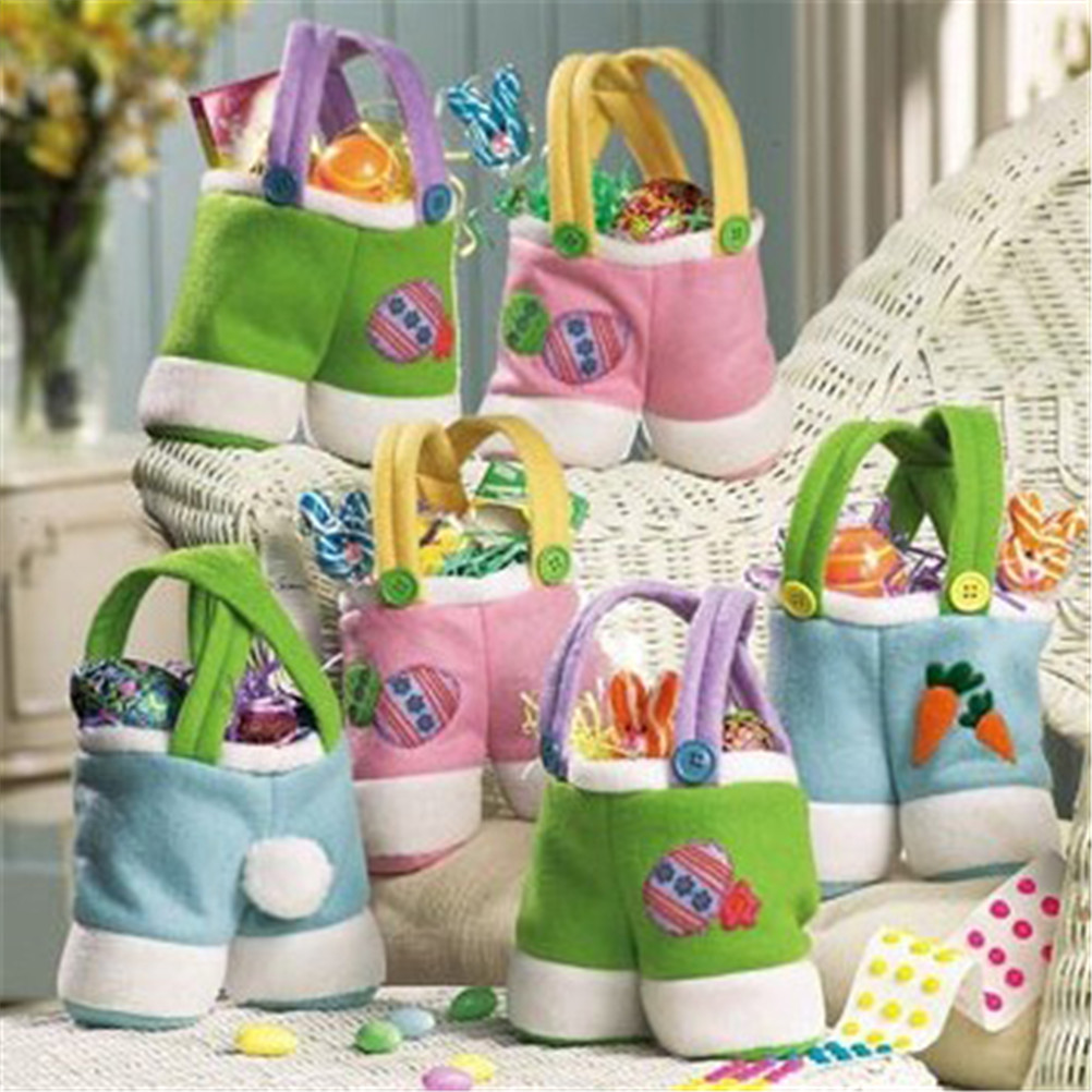 Candy Color Candy Easter Egg Rabbit Trousers Pants Handbag Tote Bag for Orgnizing Collectiong Easter Decoration