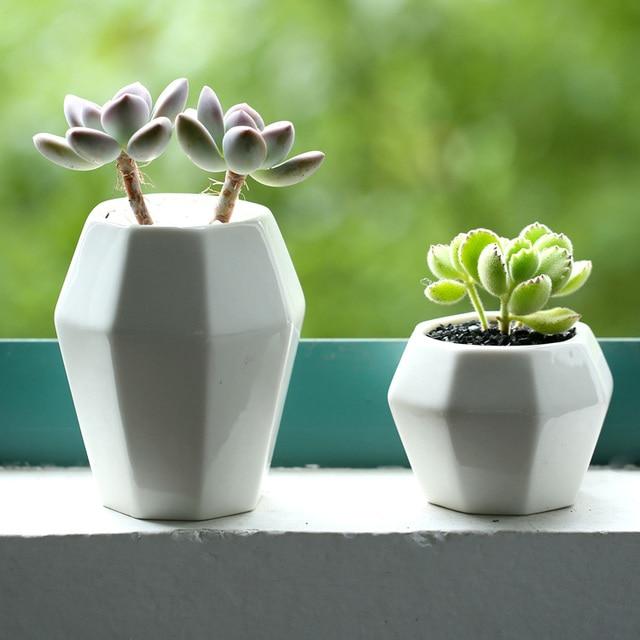 Garden Supplies ZAKKA Simple Geometric Garden Flower Pots Planters White  Ceramic Office Home Decorative Flower Green