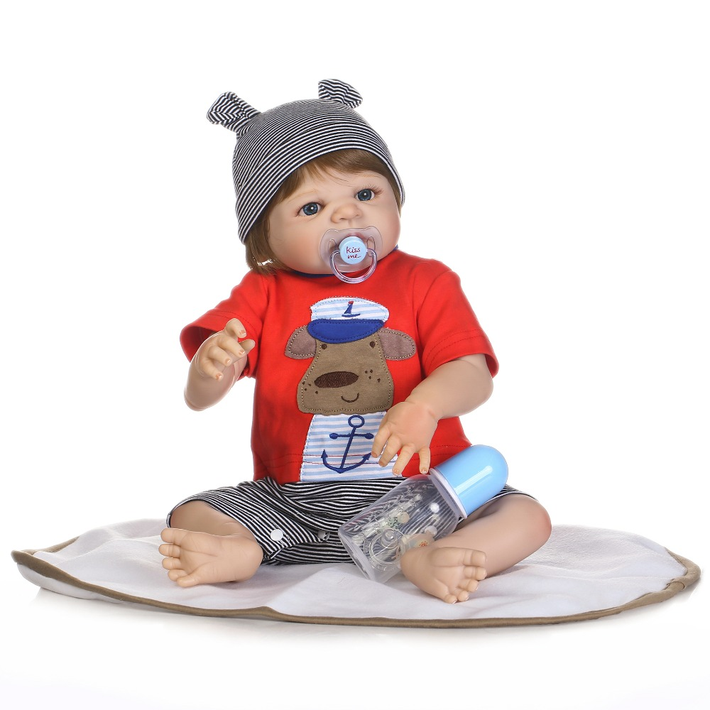 55cm Full Body Silicone Reborn Baby Boy Doll Toys Lifelike Lovely 22inch Newborn Babies Fashion Birthday Gift Bathe Shower Toy npkcollection full silicone reborn baby doll toy lifelike 55cm newborn boy babies doll lovely birt hday gif t for girl bathe toy