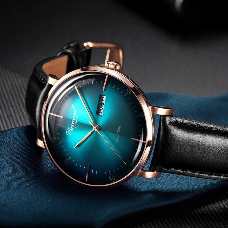 Karneval Mechanische Automatische Uhr Männer Reloj Hombre Lederband Herren Uhren Top Brand Luxus Wasserdicht Gold Armbanduhr-in Mechanische Uhren aus Uhren bei  Gruppe 1