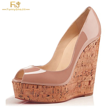 2018 So Kated Princess Wedding Cork Wedges Valentine Women's Platform 5CM Nude Clogs High Heels 16CM Peep Toe Pumps Shoes FSJ