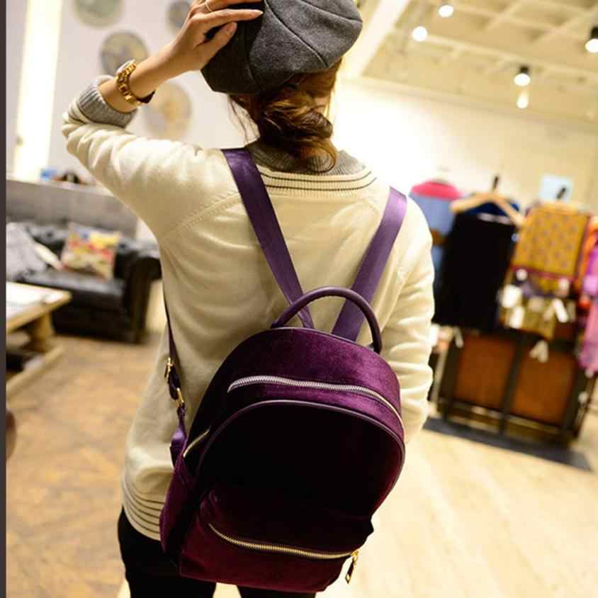 965ccc999b8a ... Xiniu Backpack Women Solid Color 24 20 11cm Gold Velvet Small Rucksack  Back School ...