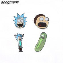 P1305 Dongmanli grosir 20 pcs/lot Rick Dan Rick Dan Moti Morty Pin Lencana Bros Broche Untuk Leher Saku Dada bros(China)