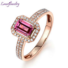 Loverjewelry Ring For Women Solid 14K Rose Gold Natural Tourmaline Ring Tourmaline Engagement Diamond Ring Emerald Cut 4x6mm