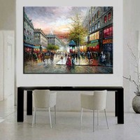 Top Artist Hand Painted High Quality Knife Paris Street Oil Painting Wall Painting European Landscape Paintings