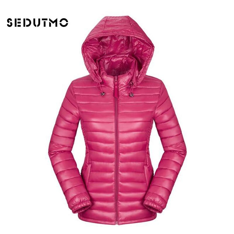 SEDUTMO Winter Ultra Light Duck Womens Down Jackets Hooded Plus Size 3XL Down Doat Slim Short  Puffer Jacket Autumn Parkas ED049