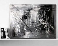 손으로 그린 원래 추상 현대 미술 현대 그림 흑백 회색 벽 아트 장식 질감 큰 작품