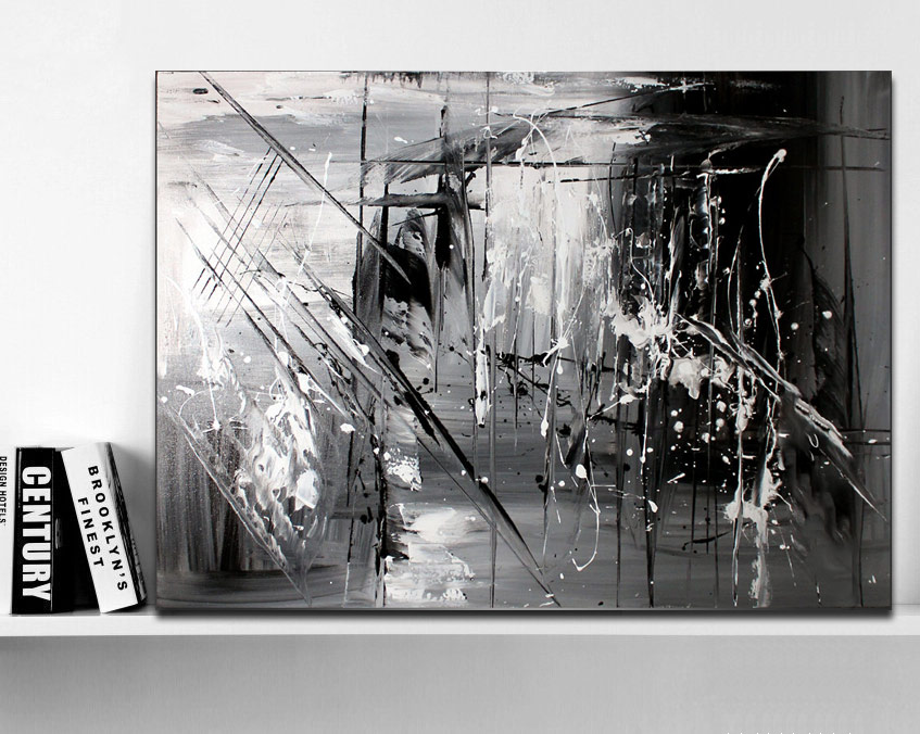 hand painted original abstract modern art contemporary painting black and white gray color wall. Black Bedroom Furniture Sets. Home Design Ideas