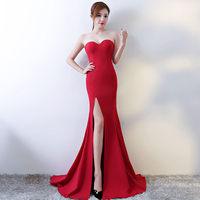 Strapless Split Sweep Train 2018 New Women's Elegant Long Gown Party Proms For Gratuating Date Ceremony Gala Evenings Dresses A2