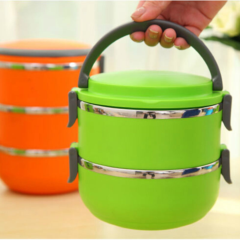 Two Layers Stainless Steel Insulation Storage food Container Dinnerware sets1400ML Thermal Bento Lunch Box Thermos For