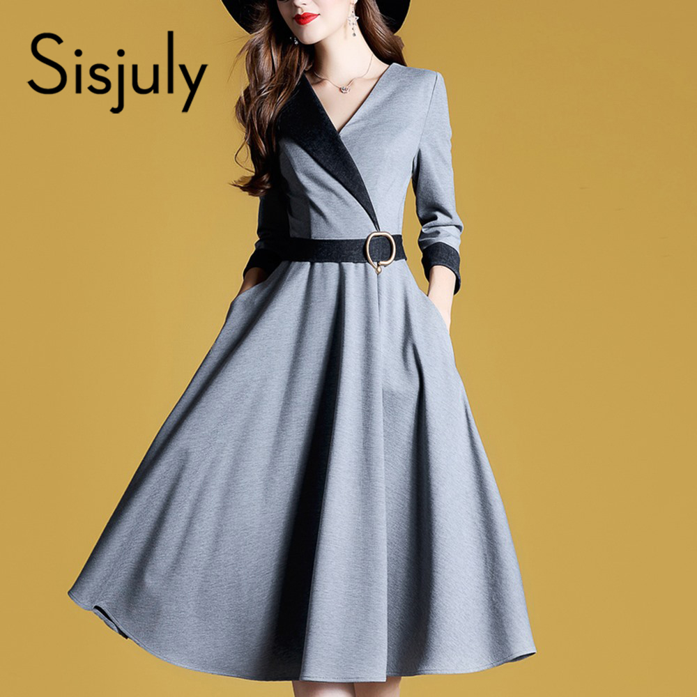 Sisjuly Women Dresses Fashion A Line Autumn High Street Waist Belt Slim Party Office Lady Elegant Midi Long Sleeve Dress Girl