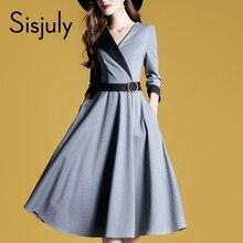 Sisjuly Women Dresses Fashion A Line Autumn High Street Waist Belt Slim Party Office Lady Elegant Midi Long Sleeve Dress Girl