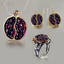 Natural Red Garnet Rings Necklace Earrings Set  Wedding Bride For Women Pomegranate Jewelry Sets Girlfriend Gifts Z3