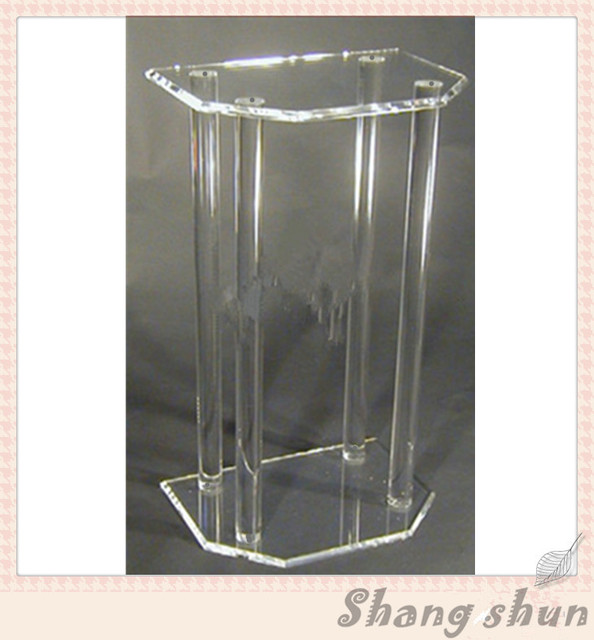 Customized Clear Acrylic Church Pulpit / Transparent Plexiglass Podium Pulpit Lectern Modern Lectern Podium