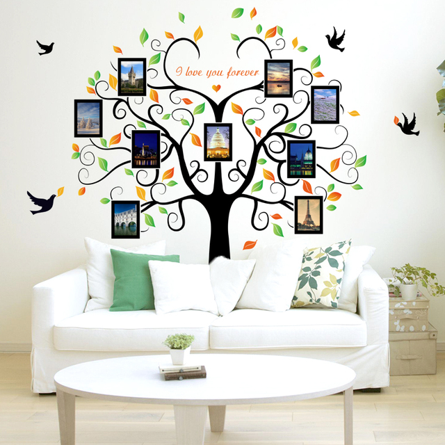 Large 240cm/ 80inch Family Tree Photo Frame Removable Wall Sticker Love Tree Bird Butterfly 3