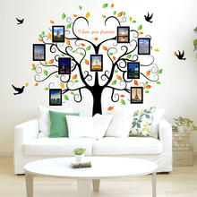 Large Family Tree Photo Frame Removable Wall Sticker, Love You Forever Tree Bird Butterfly Decal
