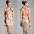 High Quality New Fashion Cap Sleeves Lace Backless Beaded Prom Evening Party Gown Short Prom Dresses 2016