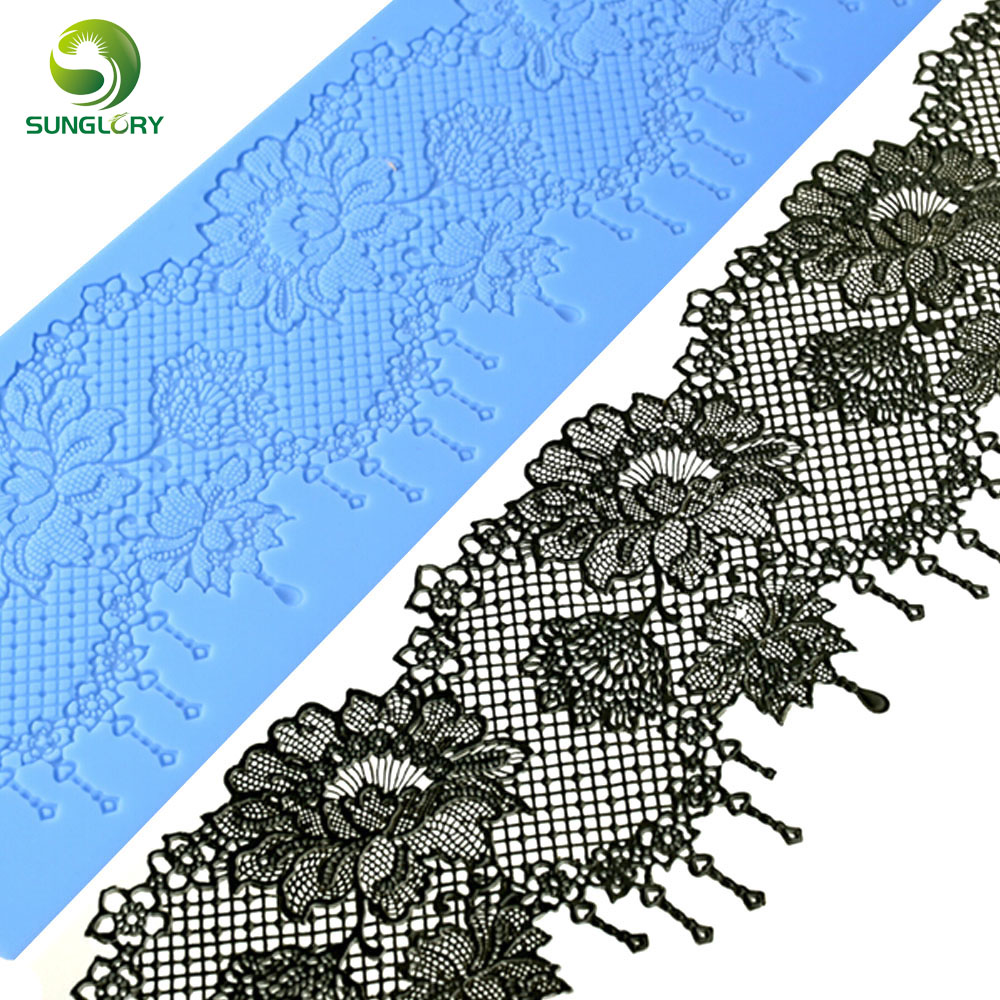 Wedding Decoration Flower Silicone Lace Mat Sugar Craft Cake Fondant Lace Mold Chocolate Gumpaste Molds For Baking Tools Kitchen in Other Cake Tools from Home Garden