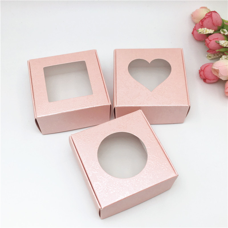 Image 3 - Wholesale 50pcs Kraft Paper Box Transparent PVC Window Soap Boxes Jewelry Gift Packaging Box Wedding Favors Candy BoxGift Bags & Wrapping Supplies   -
