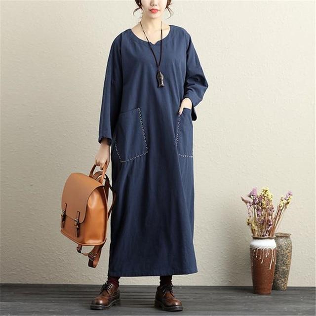 4290fbe59d8 BUYKUD VintageSolid color Maxi Dress V Neck Long Sleeves Big Pockets Dress  Dark Blue Loose Women Plus Size Loose 2Dress