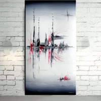 Handmade Modern Abstract Graffiti Line Paintings Handpainted Landscape Oil Painting On Canvas Large Home Decor Wall
