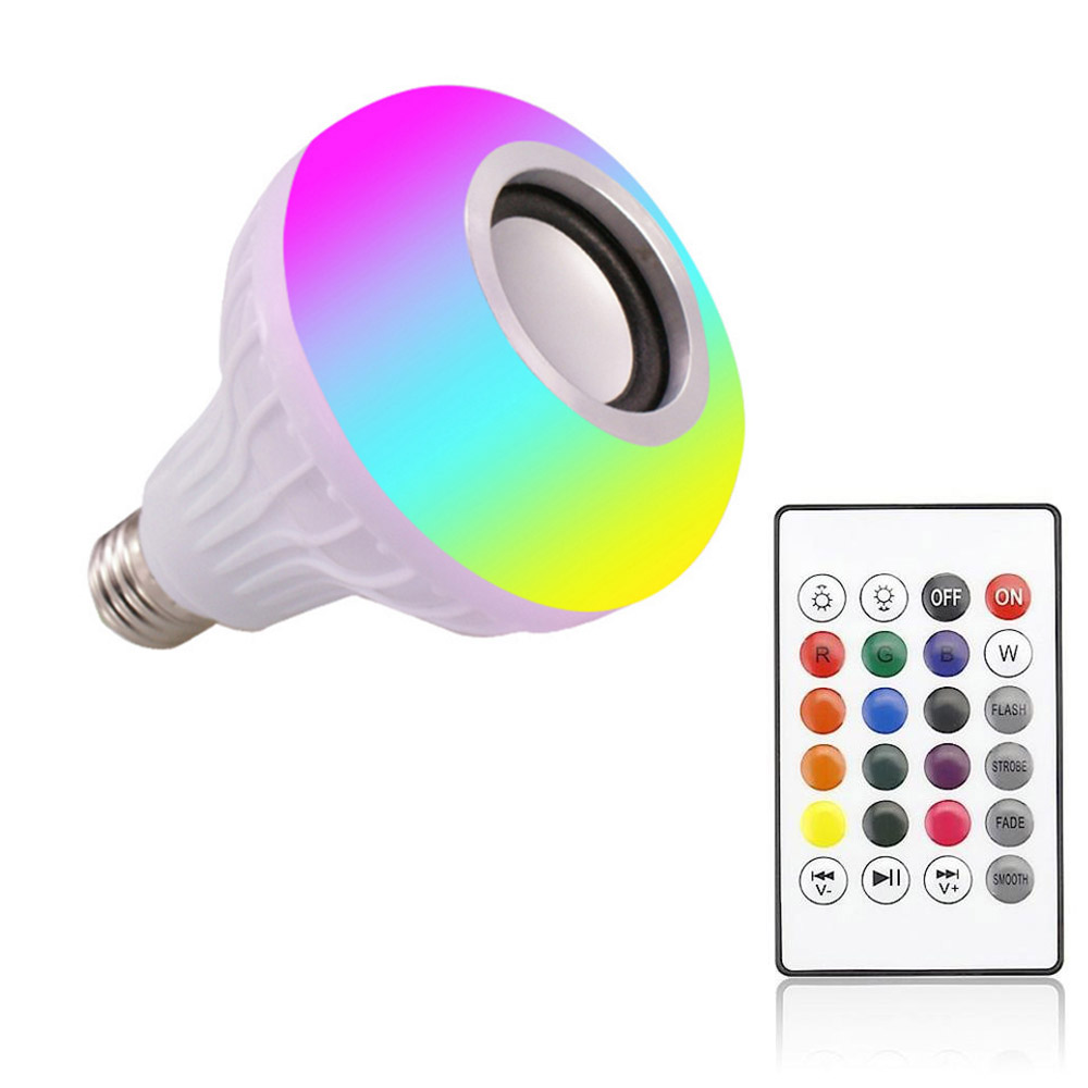 Wireless Bluetooth Speaker+12W RGB Bulb LED Lamp 110V 220V Smart Led Light Music Player Audio With Remote Control Hot Sale