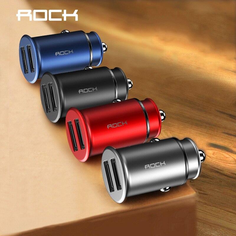 Rock 5 V 4.8A Dual USB cargador de coche para iPhone Samsung Huawei Xiaomi teléfono móvil coche cargador de teléfono USB de coche-cargador