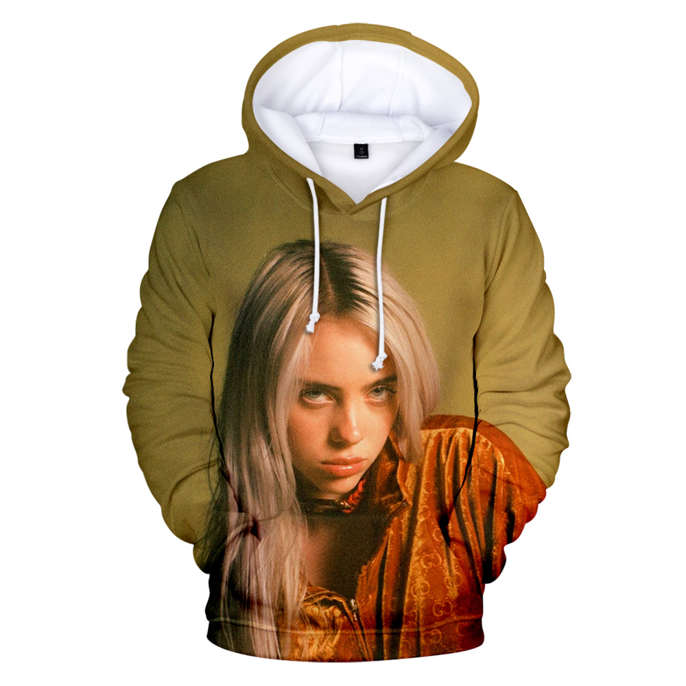 Print American New Independent Singer Billie Eilish 3D Hoodies Women Men Casual Hoodie Autumn Billie Eilish 3D Hoodie Sweatshirt