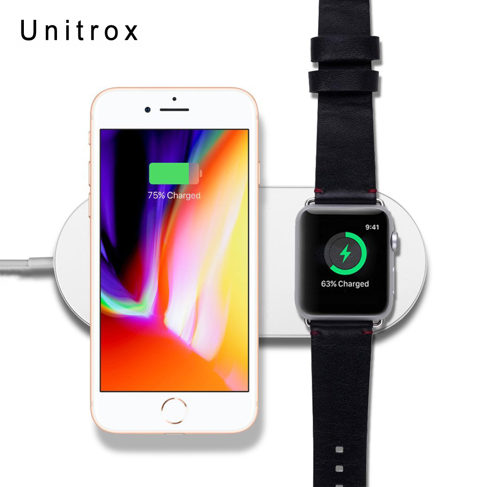 2 in 1 Mini AirPower Wireless Charger For iPhone X 8 8 Plus For Apple Watch Wireless Fast Charging Pad For Samsung Galaxy Phone k8 qi wireless charging transmitter pad for nokia lumia 820 920 samsung galaxy s3 i9300 note 2