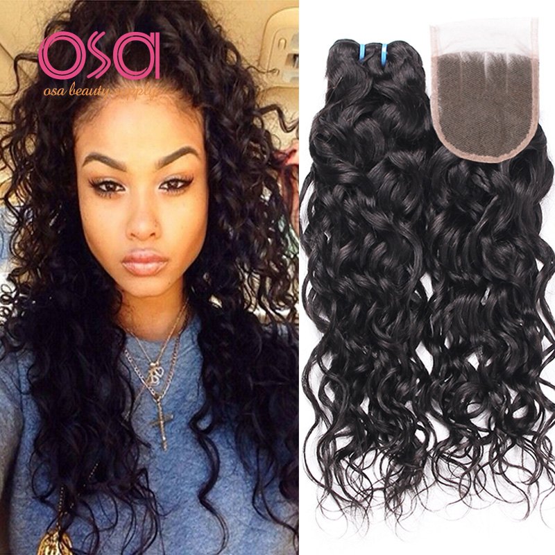 Brazilian Virgin Hair Water Wave Hair With Lace Closure Wet And Wavy
