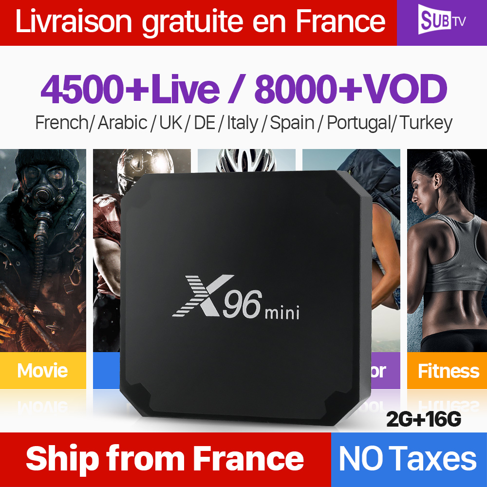 X96 mini Android 7,1 IPTV Francia caja de 1 año SUBTV Código Árabe francés IPTV Box 2G 16G X96mini IP TV Box Bélgica turco Portugal
