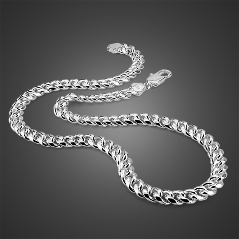 Новое модное серебряное ожерелье, мужское ожерелье из серебра 925 пробы, хорошее качество, цельное серебряное ожерелье, мужские популярные ю