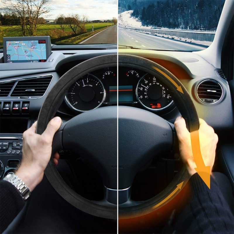 12V Electric Steering Wheel Cover Car Heating Steering Wheel Cover Leather Steering Wheel CoverNew New