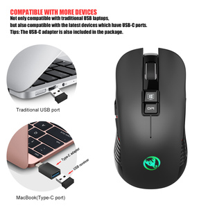 Image 3 - USB 3.0 TYPE C 2.4GHz wireless Gaming Mouse Built in rechargeable battery adjustable 3600DPI Optical Mute mice for Laptop