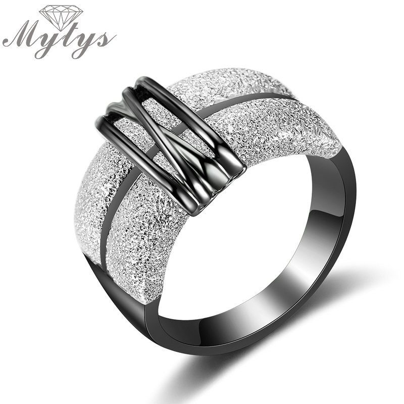Mytys Black and Silver Mix Color Two Tone Gold Rings for Women Fashion Design Modern Jewelry New Lady Accessory Ring Gift R1999