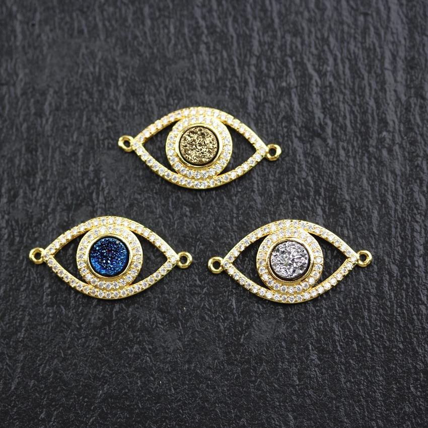 10 pièces, Mauvais Oeil Forme Zircon CZ Plaqué Or Connecteurs Titane Druzy Achate Pièce Forme Perles bijoux à breloques