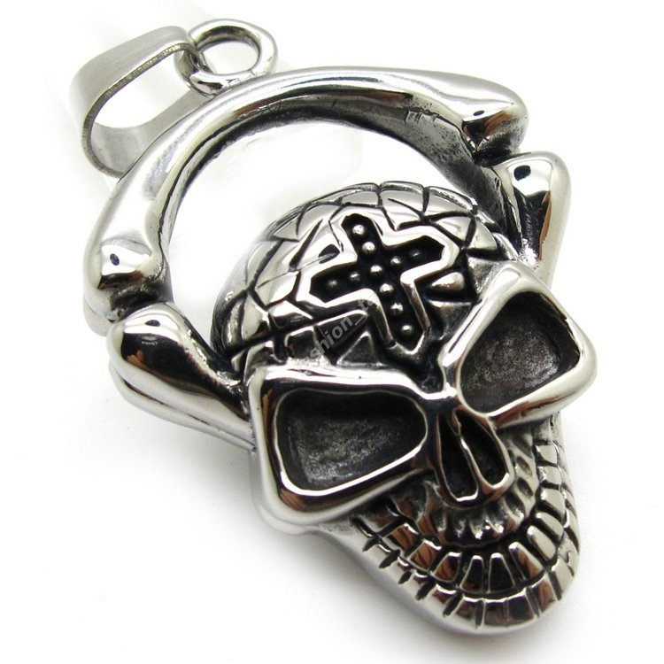 Fashion Jewely Skull Bone Cross Silver Charm 316L Stainless Steel Pendant Necklace