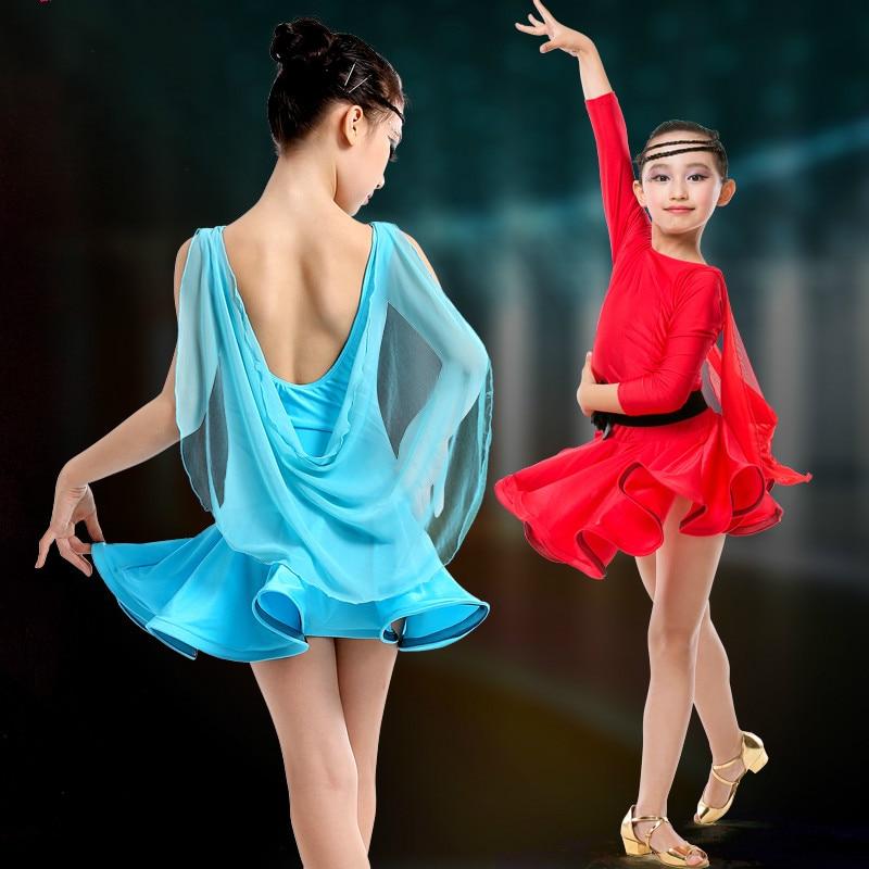 ZX Womens Ballroom Dance Dress Lace Sleeve Long Swing Skirt Professional Competition Modern Waltz Cha Cha Dress