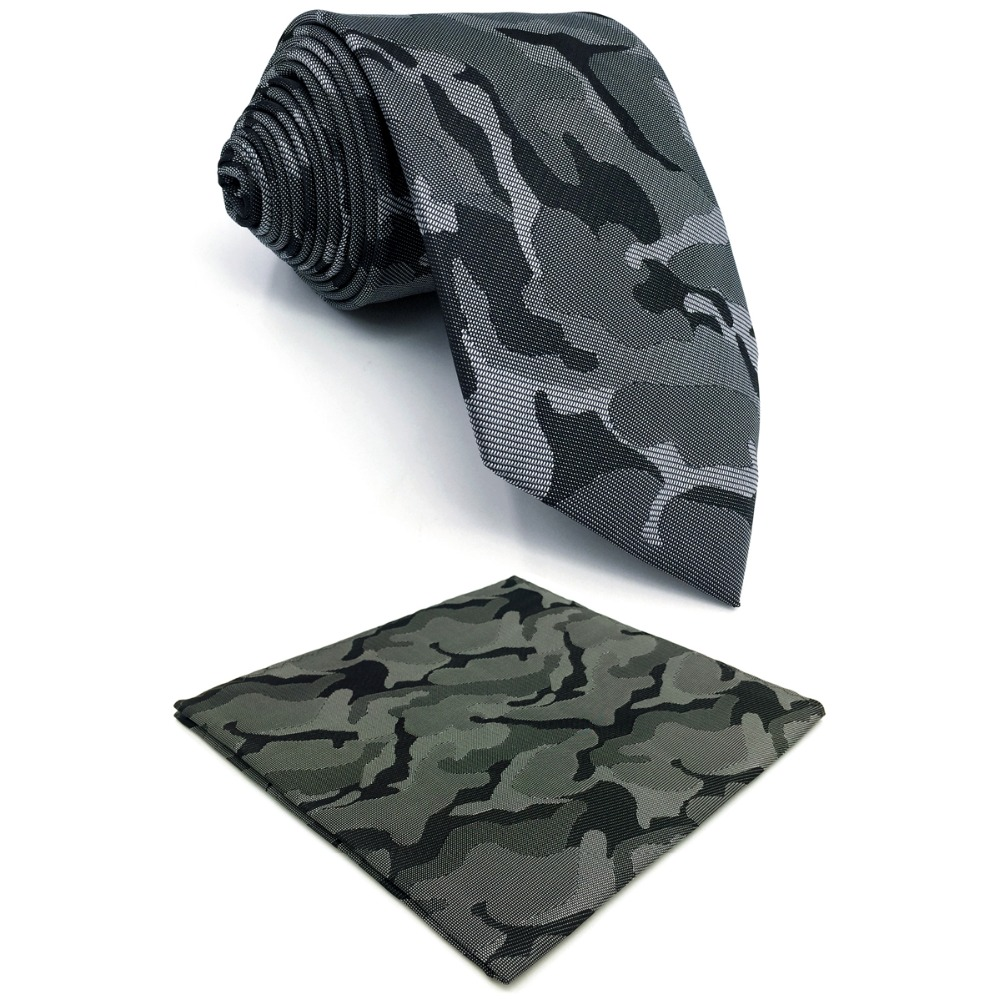 E30 Dark Grey Abstract Silk Mens Necktie Set Brand New Fashion Ties For Male Classic Accessory Hanky Extra Long Size