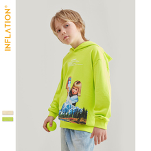 INFLATION 2019 Autumn Winter Boys Hoodies Funny Printing Kids Loose Fashion Style Girls 19521A