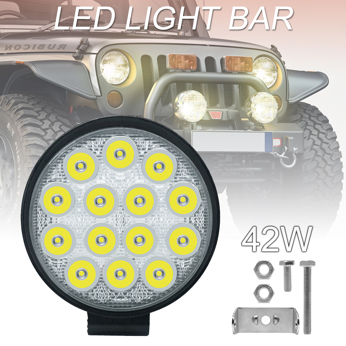 4 Inch Rounded 4200LM Led 12V 24V Work Light Bar Driving Pods Spot Beam Work Lamp for Off Road Suv Boat Jeep  Truck-in Car Headlight Bulbs(LED) from Automobiles & Motorcycles