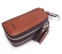 Vintage Genuine Leather Key Wallet Men Keychain Covers Double Zipper Key Case Bag Men Key Holder Housekeeper Keys Organizer