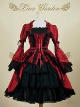Mujeres calientes de las señoras cosplay para halloween party vintage lolita vestidos de encaje de baile ball gown dress extraíble manga flare
