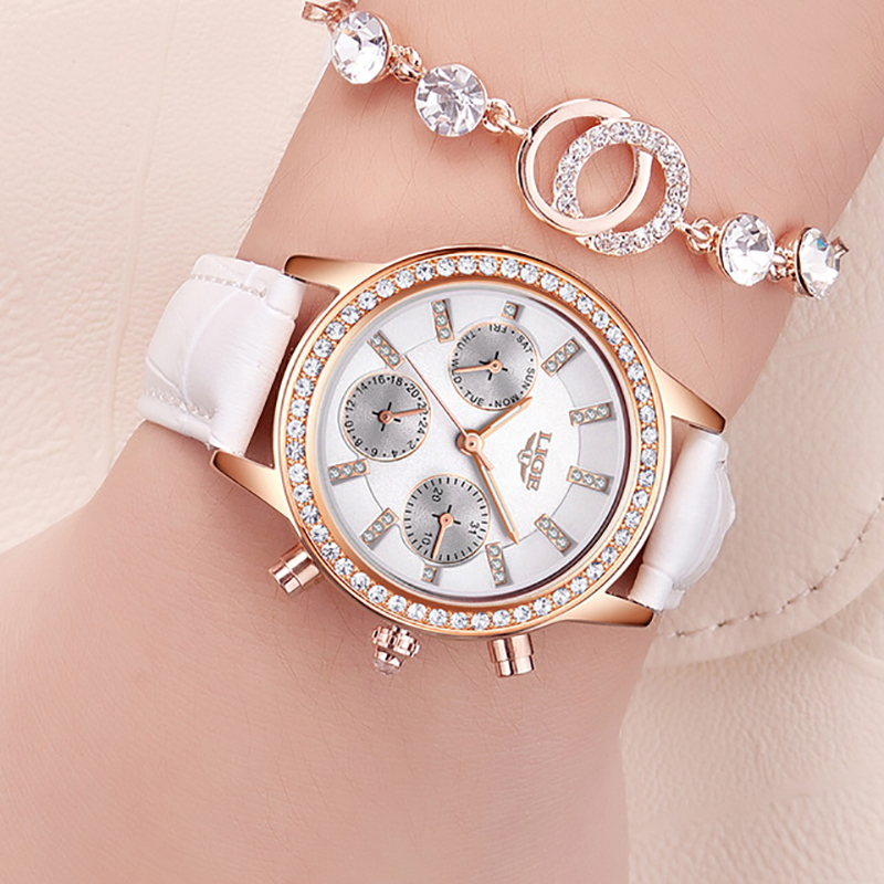 Relogio Feminino LIGE Women's Watch Top Brand Luxury Lady Quartz Clock Women Casual Leather Waterproof Sports Watch Montre Femme