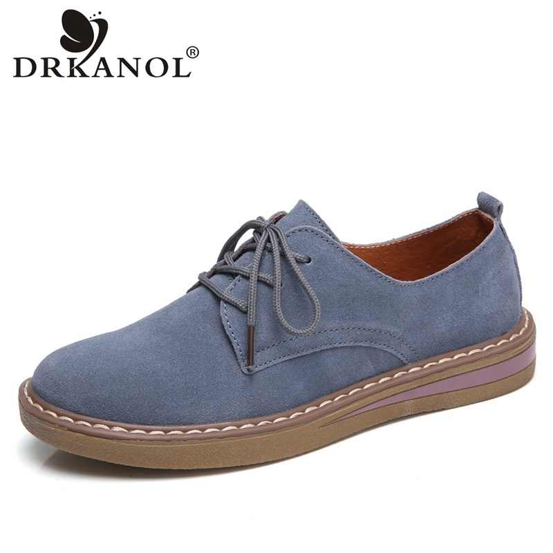 DRKANOL 2018 British Style Women Flat Shoes Comfortable Round Toe Flats Handmade Cow Suede Oxford Shoes For Women Casual Shoes shehuimei brand 2018 women flats patent leather oxford shoes woman loafers vintage british style round toe handmade casual shoes