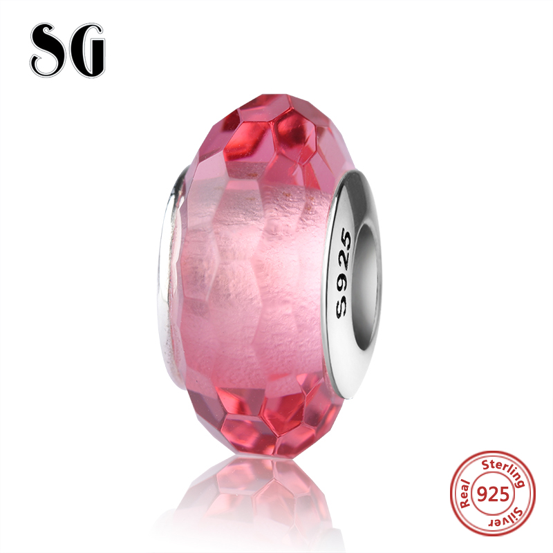 Real Murano glass beads silver 925 sparkling red color fit authentic pandora charms bracelet original DIY jewelry making giftS